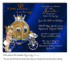 Royal Blue Prince/Princess Invitation Baby Shower Magnet