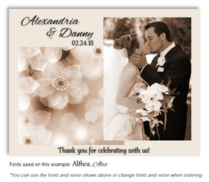 Tan Soft Floral Thank You Wedding Photo Magnet