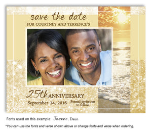 Gold Sparkling Waters Save the Date Anniversary Photo Magnet