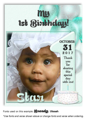 Aqua Number 1 Thank You Photo Birthday Magnet
