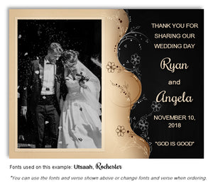Black Two Tone Thank You Wedding Photo Magnet