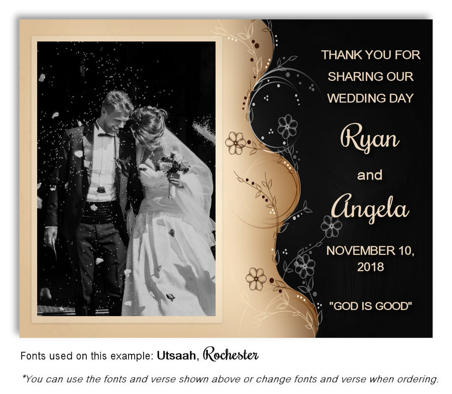 Brown Two Tone Save the Date Wedding Photo Magnet