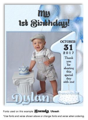 Blue Number 1 Thank You Photo Birthday Magnet
