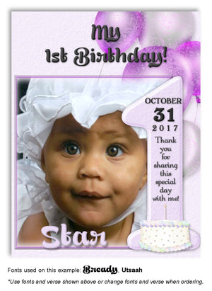 Lavender Number 1 Thank You Photo Birthday Magnet