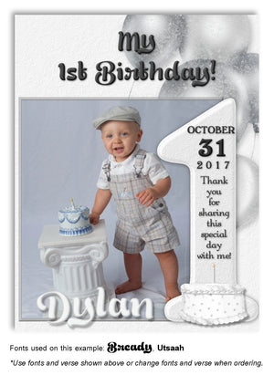 Light Gray Number 1 Thank You Photo Birthday Magnet
