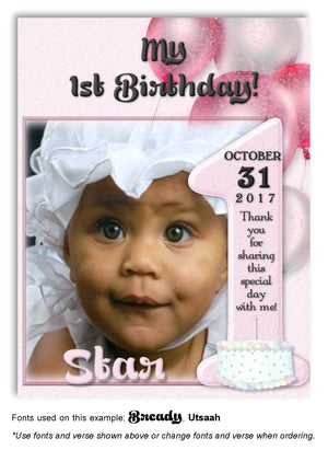 Pink Number 1 Thank You Photo Birthday Magnet