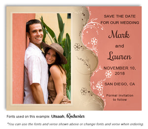 Salmon Two Tone Save the Date Wedding Photo Magnet