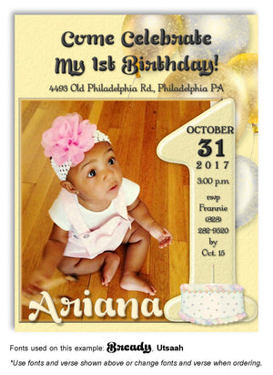 Yellow Number 1 Invitation Photo Birthday Magnet
