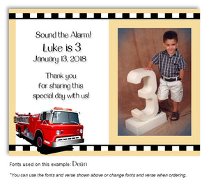 Cream Fire Engine Thank You Photo Birthday Magnet