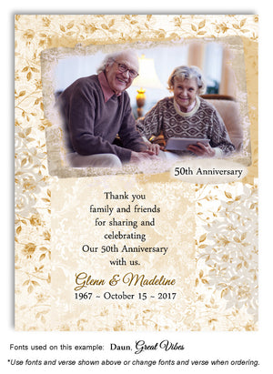 Gold Rose Garden Thank You Invitation Photo Anniversary Magnet