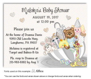 Gray Umbrella Toys Invitation Baby Shower Magnet