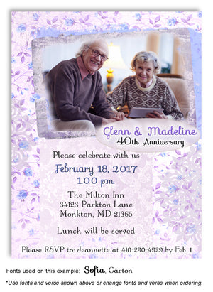 Lavender Rose Garden Invitation Photo Anniversary Magnet