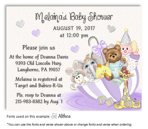 Lavender Umbrella Toys Invitation Baby Shower Magnet