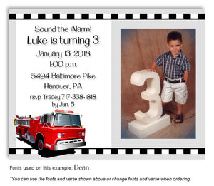 Light Gray Fire Engine Invitation Photo Birthday Magnet