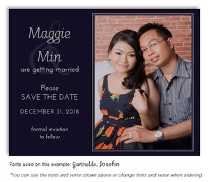 Navy Save the Date Wedding Photo Magnet