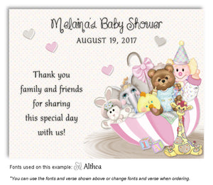 Pink Umbrella Toys Thank You Baby Shower Magnet