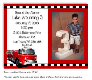 Red Fire Engine Invitation Photo Birthday Magnet