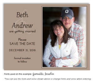 Tan Save the Date Wedding Photo Magnet