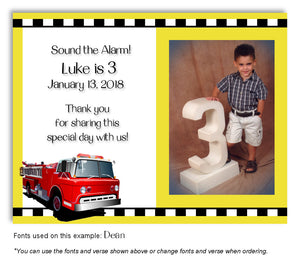 Yellow Fire Engine Thank You Photo Birthday Magnet