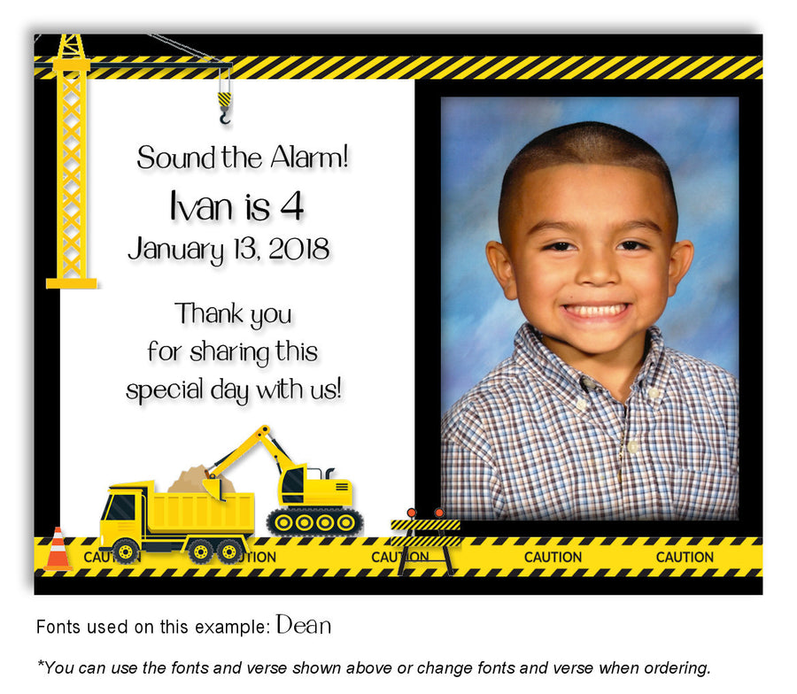 Light Gray Construction Invitation Photo Birthday Magnet