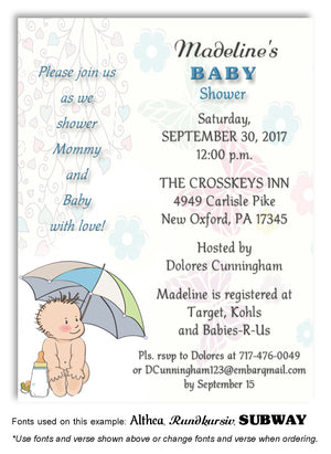 Blue Umbrella Baby Invitation Baby Shower Magnet