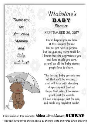 Gray Umbrella Baby Thank You Baby Shower Magnet