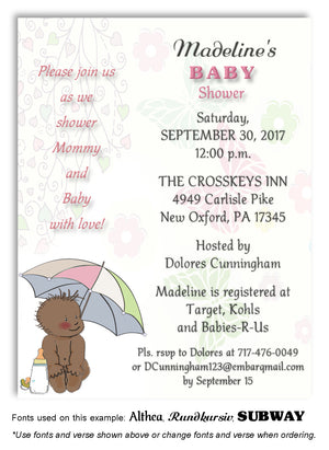 Pink Umbrella Baby Invitation Baby Shower Magnet