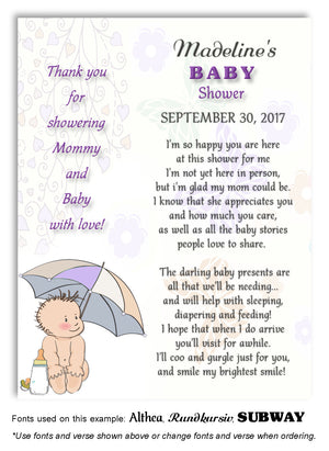 Purple Umbrella Baby Thank You Baby Shower Magnet