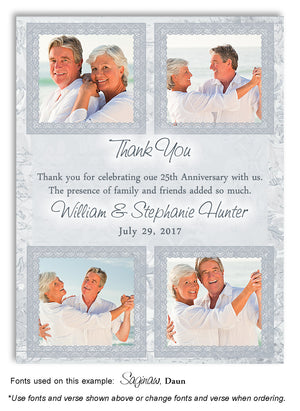 Silver Thank You Collage Photo Anniversary Magnet