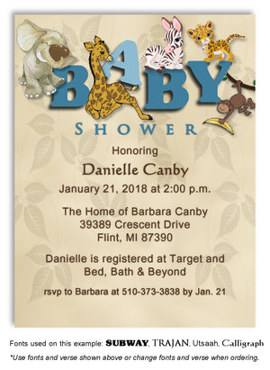 Blue Jungle Invitation Baby Shower Magnet