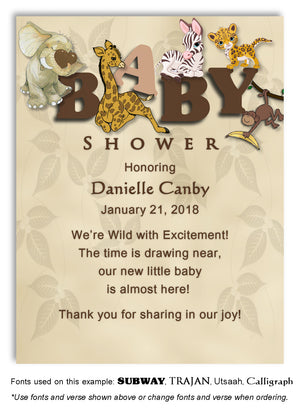 Brown Jungle Thank You Baby Shower Magnet