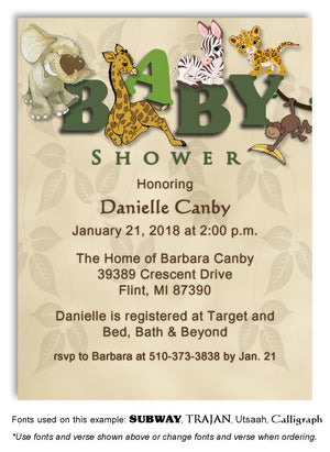 Green Jungle Invitation Baby Shower Magnet