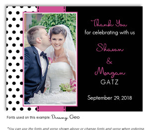 Hot Pink Polka Dot Thank You Wedding Photo Magnet