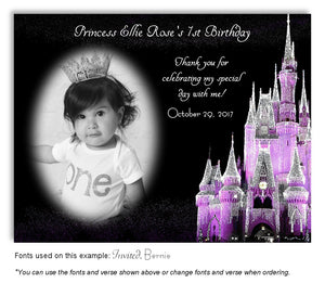 Lavender Castle Thank You Photo Birthday Magnet