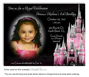 Pink Castle Invitation Photo Birthday Magnet