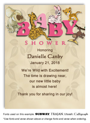 Pink Jungle Thank You Baby Shower Magnet