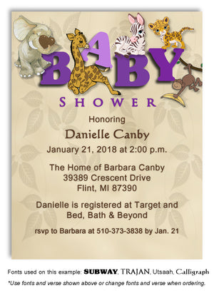 Purple Jungle Invitation Baby Shower Magnet