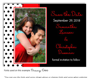 Red Polka Dot Save the Date Wedding Photo Magnet