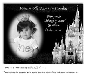 Silver Castle Thank You Photo Birthday Magnet