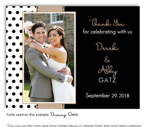 Tan Polka Dot Thank You Wedding Photo Magnet