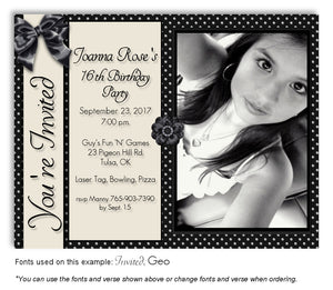 Black Girly Invitation Photo Birthday Magnet