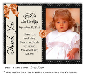 Black-Peach Girly Thank You Photo Birthday Magnet