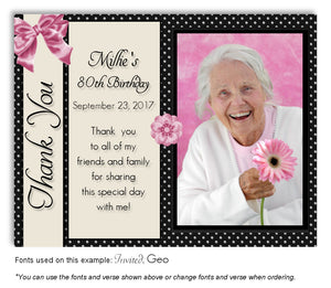 Black-Pink Girly Thank You Photo Birthday Magnet