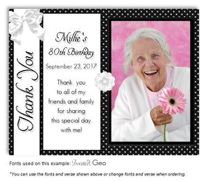 Black-White Girly Thank You Photo Birthday Magnet