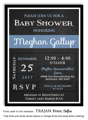 Blue Blackboard Invitation Baby Shower Magnet