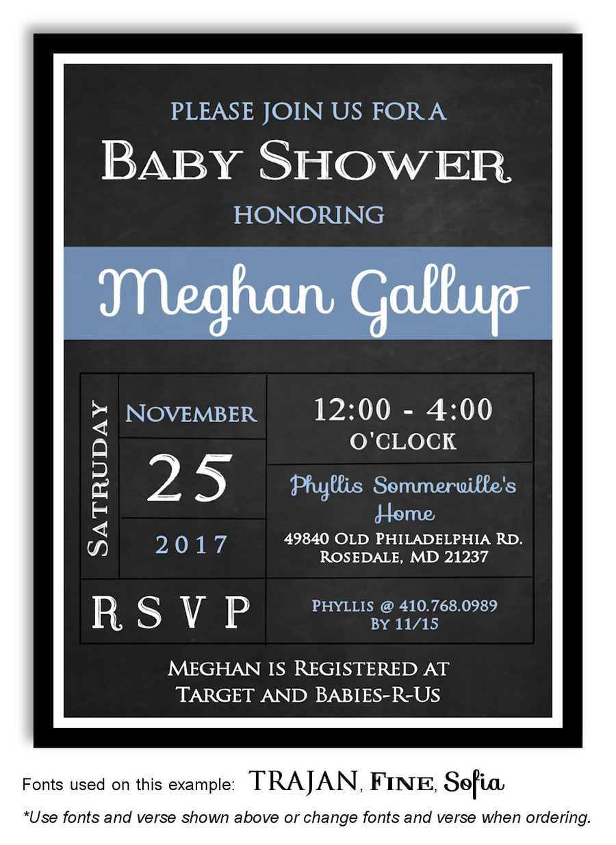 Gold Blackboard Invitation Baby Shower Magnet