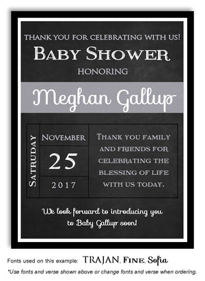 Gray Blackboard Thank You Baby Shower Magnet