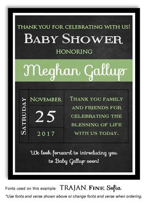 Green Blackboard Thank You Baby Shower Magnet