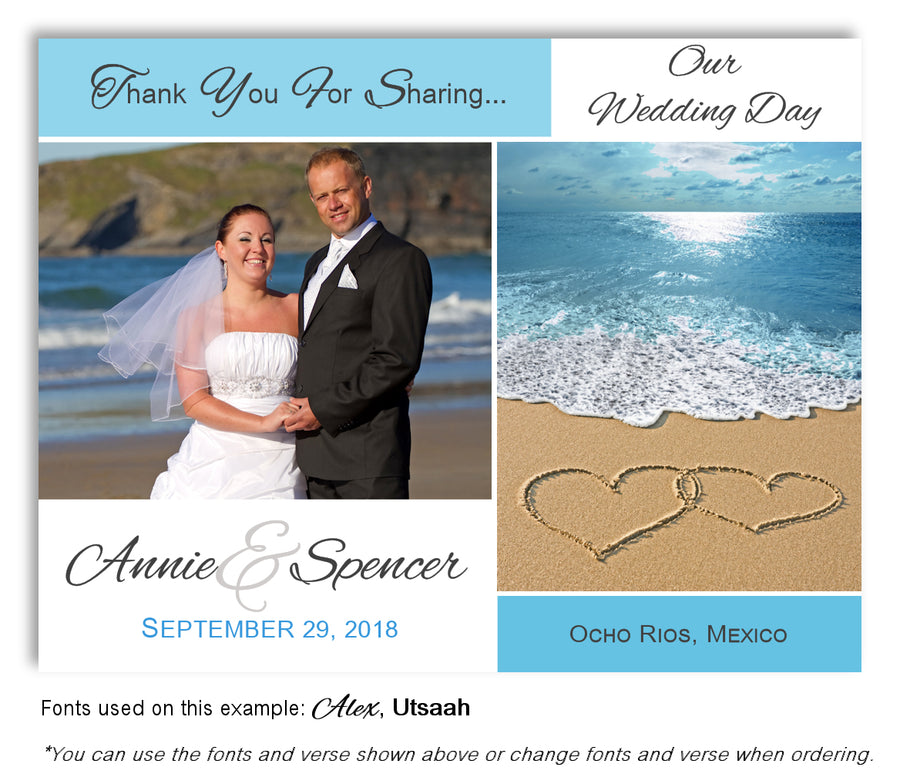 Navy Ocean View Save the Date Wedding Photo Magnet