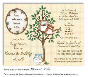 Blue Owl Invitation Baby Shower Magnet